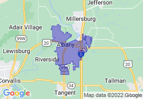Albany, Oregon Border Map - Phone Size