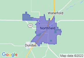 Northfield, Minnesota Border Map - Phone Size