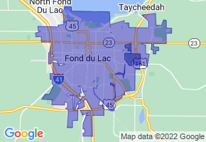 Fond du Lac, Wisconsin Border Map - Phone Size