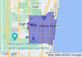 Delray Beach, Florida Border Map - Phone Size