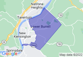 Lower Burrell, Pennsylvania Border Map - Phone Size