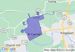 Mount Carmel, Tennessee Border Map - Phone Size