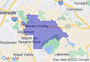 Moreno Valley, California Border Map - Phone Size