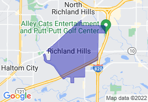 Richland Hills, Texas Border Map - Phone Size