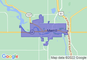 Merrill, Wisconsin Border Map - Phone Size