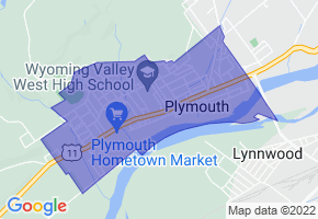 Plymouth, Pennsylvania Border Map - Phone Size