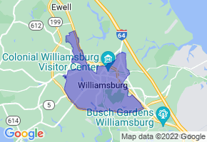 Williamsburg, Virginia Border Map - Phone Size