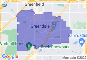 Greendale, Wisconsin Border Map - Phone Size