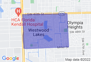 Westwood Lakes, Florida Border Map - Phone Size