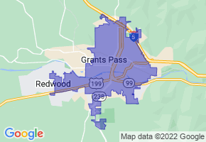 Grants Pass, Oregon Border Map - Phone Size