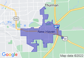 New Haven, Indiana Border Map - Phone Size