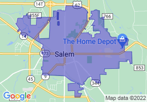 Salem, Ohio Border Map - Phone Size