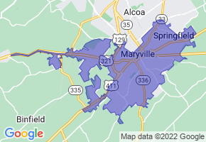 Maryville, Tennessee Border Map - Phone Size