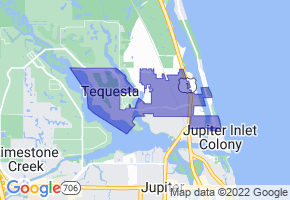 Tequesta, Florida Border Map - Phone Size