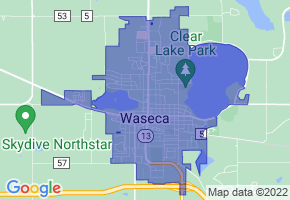 Waseca, Minnesota Border Map - Phone Size
