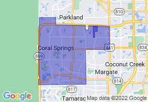 Coral Springs, Florida Border Map - Phone Size