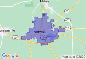 Norwalk, Ohio Border Map - Phone Size