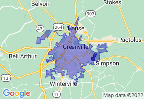 Greenville, North Carolina Border Map - Phone Size