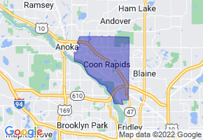 Coon Rapids, Minnesota Border Map - Phone Size