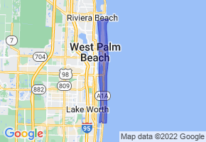 Palm Beach, Florida Border Map - Phone Size