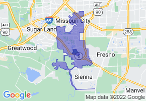 Missouri City, Texas Border Map - Phone Size