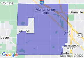 Menomonee Falls, Wisconsin Border Map - Phone Size