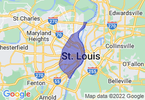 St. Louis, Missouri Border Map - Phone Size