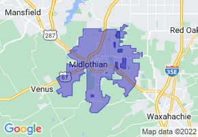 Midlothian, Texas Border Map - Phone Size