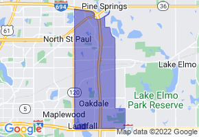 Oakdale, Minnesota Border Map - Phone Size