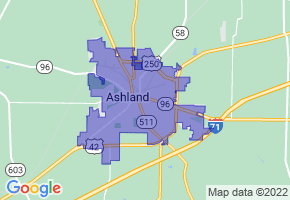 Ashland, Ohio Border Map - Phone Size