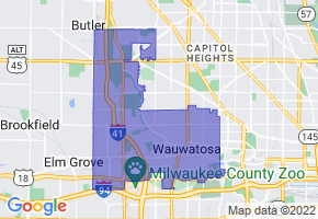 Wauwatosa, Wisconsin Border Map - Phone Size