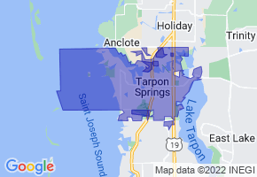 Tarpon Springs, Florida Border Map - Phone Size