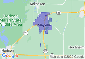 Mayville, Wisconsin Border Map - Phone Size