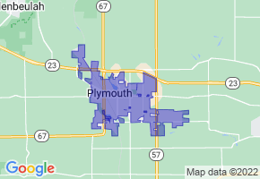 Plymouth, Wisconsin Border Map - Phone Size