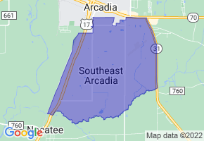 Southeast Arcadia, Florida Border Map - Phone Size
