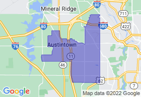 Austintown, Ohio Border Map - Phone Size