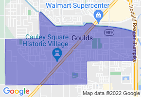 Goulds, Florida Border Map - Phone Size