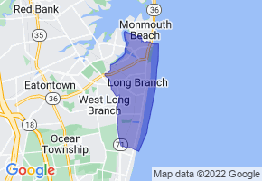 Long Branch, New Jersey Border Map - Phone Size