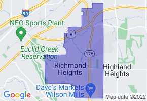Richmond Heights, Ohio Border Map - Phone Size