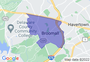 Broomall, Pennsylvania Border Map - Phone Size