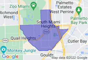South Miami Heights, Florida Border Map - Phone Size
