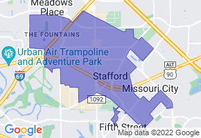 Stafford, Texas Border Map - Phone Size