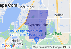 Cypress Lake, Florida Border Map - Phone Size