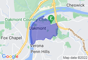 Oakmont, Pennsylvania Border Map - Phone Size