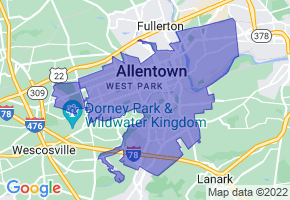 Allentown, Pennsylvania Border Map - Phone Size