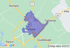 Victoria, Texas Border Map - Phone Size