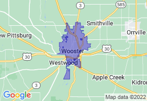 Wooster, Ohio Border Map - Phone Size