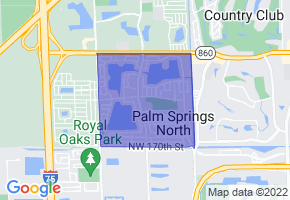 Palm Springs North, Florida Border Map - Phone Size
