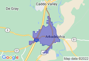 Arkadelphia, Arkansas Border Map - Phone Size