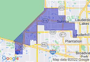 Sunrise, Florida Border Map - Phone Size